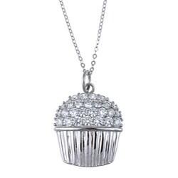 La Preciosa Sterling Silver Cubic Zirconia Cupcake Necklace