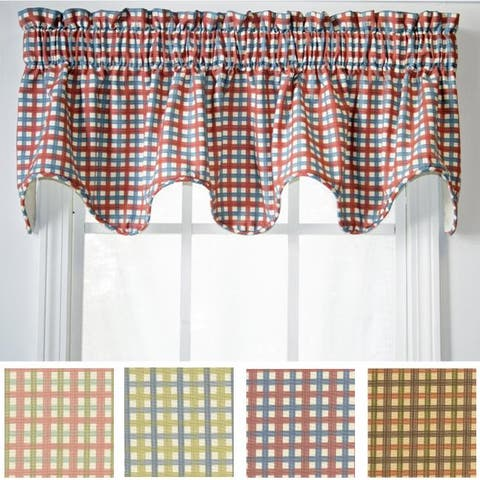 Ellis Curtain Charlestown Check Scallop Valance - 70 x 15