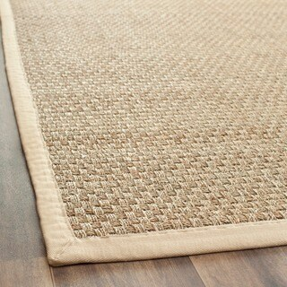 Safavieh Casual Natural Fiber Natural and Beige Border Seagrass Runner (2' 6 x 4') - 2'6 x 4'