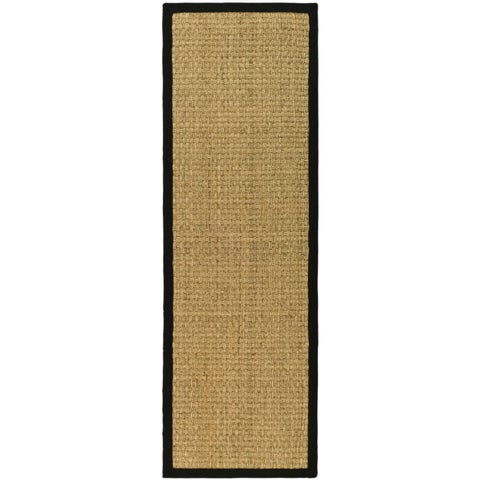 Safavieh Casual Natural Fiber Hand-Woven Sisal Natural / Black Seagrass Runner Rug - 2'6 x 6'
