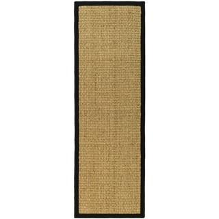 Safavieh Casual Natural Fiber Hand-Woven Sisal Natural / Black Seagrass Runner (2'6 x 6')