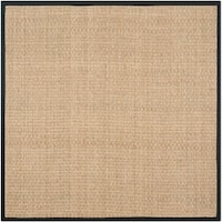 Safavieh Natural Fiber Marina Natural/ Black Seagrass Rug - 8' x 8' Square
