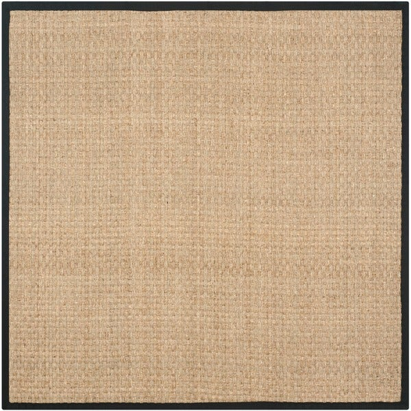 Safavieh Casual Natural Fiber Hand-Woven Sisal Natural / Black Seagrass Rug - 8' x 8' Square