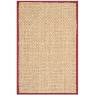 Safavieh Casual Natural Fiber Natural and Red Border Seagrass Rug (2'6 x 4')
