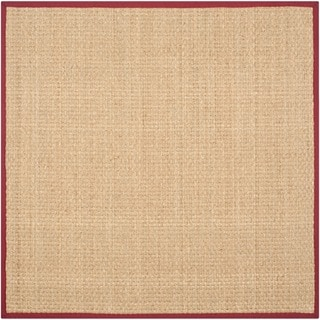 Safavieh Casual Natural Fiber Natural and Red Border Seagrass Rug (8' Square)