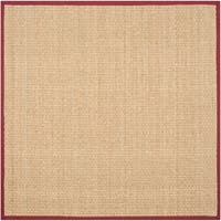 Safavieh Casual Natural Fiber Natural and Red Border Seagrass Rug - 8' x 8' Square