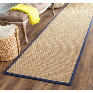 "Safavieh Casual Natural Fiber Natural and Blue Border Seagrass Runner - 2'6"" x 14'"