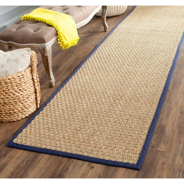 "Safavieh Casual Natural Fiber Natural and Blue Border Seagrass Runner (2'6 x 6') - 2'6"" x 6'"