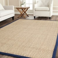 Safavieh Casual Natural Fiber Natural and Blue Border Seagrass Rug - 8' x 8' Square
