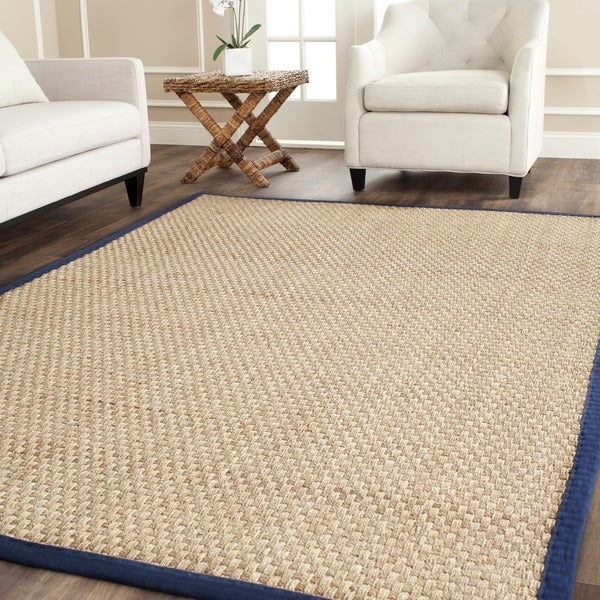 Safavieh Casual Natural Fiber Natural and Blue Border Seagrass Rug (8' Square)