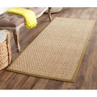 Safavieh Casual Natural Fiber Natural and Olive Border Seagrass Runner (2'6 x 6')