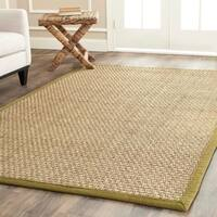 Safavieh Natural Fiber Marina Natural/ Olive Green Seagrass Rug - 8' x 8' Square