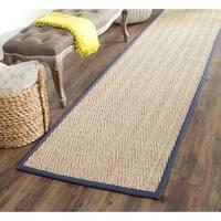 Safavieh Casual Natural Fiber Herringbone Natural and Blue Border Seagrass Runner (2' 6 x 16')