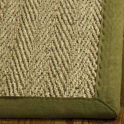 Safavieh Casual Natural Fiber Herringbone Natural and Olive Border Seagrass Rug (2'6 x 4')