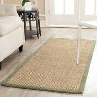 Safavieh Casual Natural Fiber Hand-Woven Resorts Natural / Green Tiger Weave Sisal Runner - 2'6 x 14'