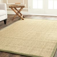 Safavieh Casual Natural Fiber Hand-Woven Resorts Natural / Green Tiger Weave Sisal Rug (8' Square) - 8' Square
