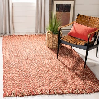 Safavieh Casual Natural Fiber Hand-Woven Arts Natural / Rust Fine Sisal Runner (2'6 x 12')