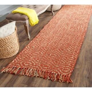 Safavieh Casual Natural Fiber Hand-Woven Arts Natural / Rust Fine Sisal Runner Rug - 2'6 x 16'