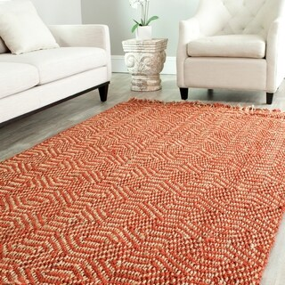 Safavieh Casual Natural Fiber Hand-Woven Arts Natural / Rust Fine Sisal Rug - 5' x 8'