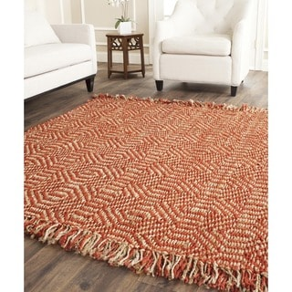 Safavieh Casual Natural Fiber Hand-Woven Arts Natural / Rust Fine Sisal Rug (6' Square)