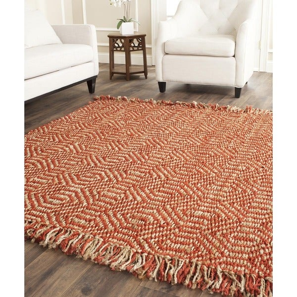 Safavieh Casual Natural Fiber Hand-Woven Arts Natural / Rust Fine Sisal Rug - 6' x 6' Square