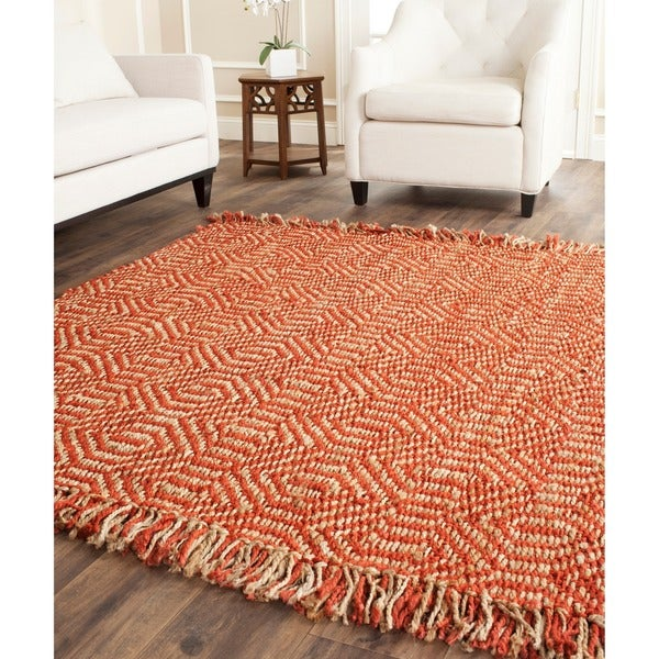 Safavieh Casual Natural Fiber Hand-Woven Arts Natural / Rust Fine Sisal Rug (8' Square)