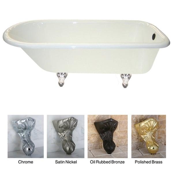 cast iron satin nickel claw foot slipper tub with