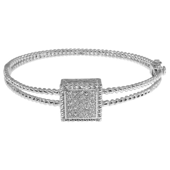 Sterling Silver 1/8ct TDW Diamond Square Bangle