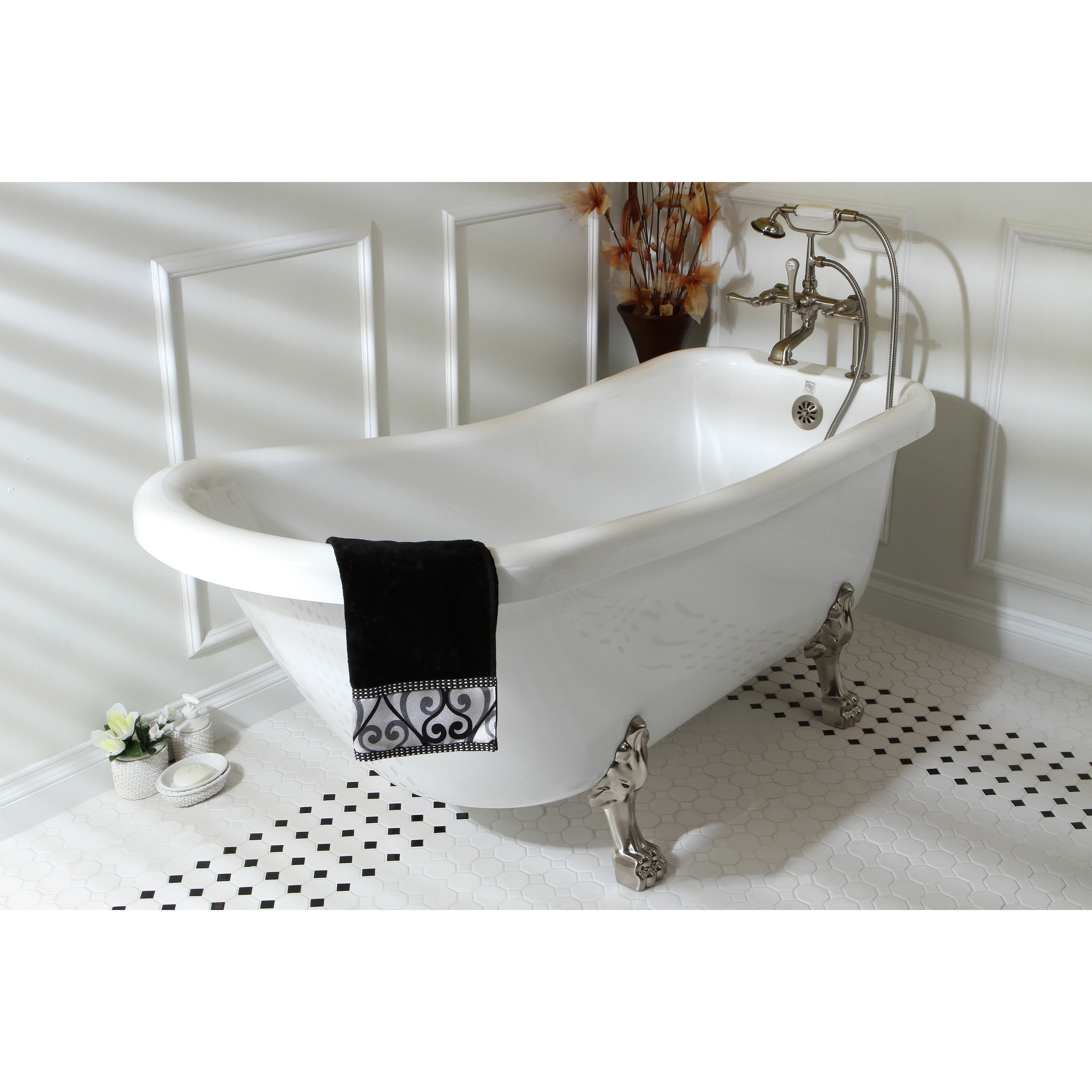 Vintage Collection 67 Inch White Acrylic Clawfoot Slipper Tub Overstock 5524552