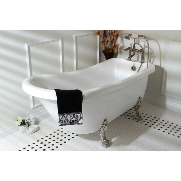 Vintage Collection 67 Inch White Acrylic Clawfoot Slipper Tub   Free  Shipping Today   Overstock.com   13303890