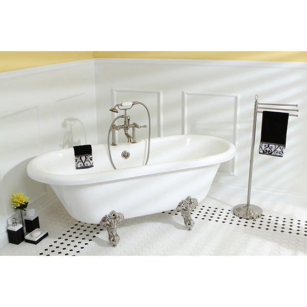 Vintage 67-inch Acrylic Dual Clawfoot Tub with 7-inch Rim Drillings