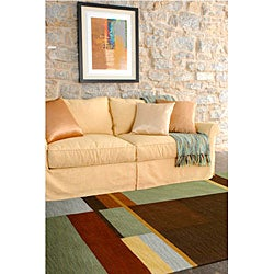 Hand-tufted Contemporary Squares Tailored Geometric Multicolored Wool Area Rug (5' x 8') - Thumbnail 1