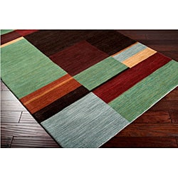 Hand-tufted Contemporary Squares Tailored Geometric Multicolored Wool Area Rug (5' x 8') - Thumbnail 2