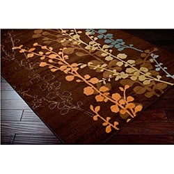 """Transitional Loomed Replica Brown Floral Rug (7'10"""" x 10'1"""") - Thumbnail 1"""
