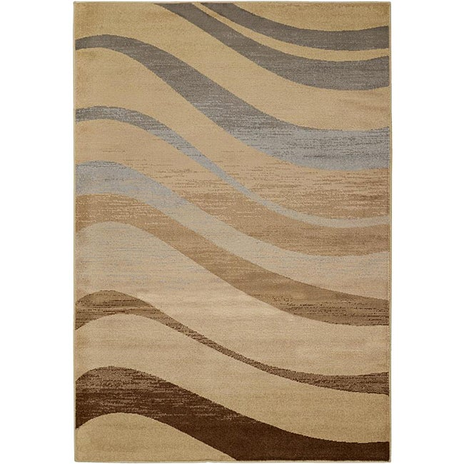Meticulously Woven Trends Beige Stripe Abstract Rug (1'11 x 3'3)