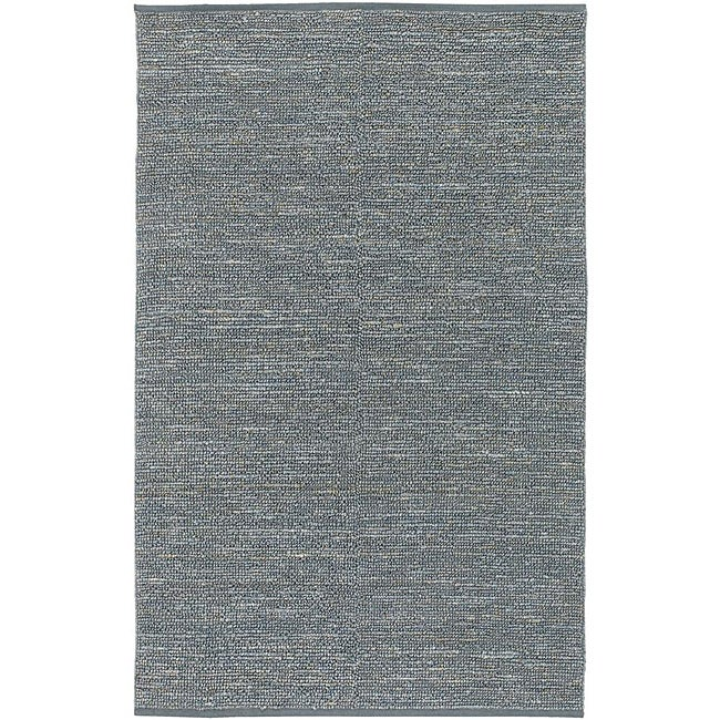 Hand-woven Cottage Grey Blue Natural Fiber Jute Rug (2' x 3')