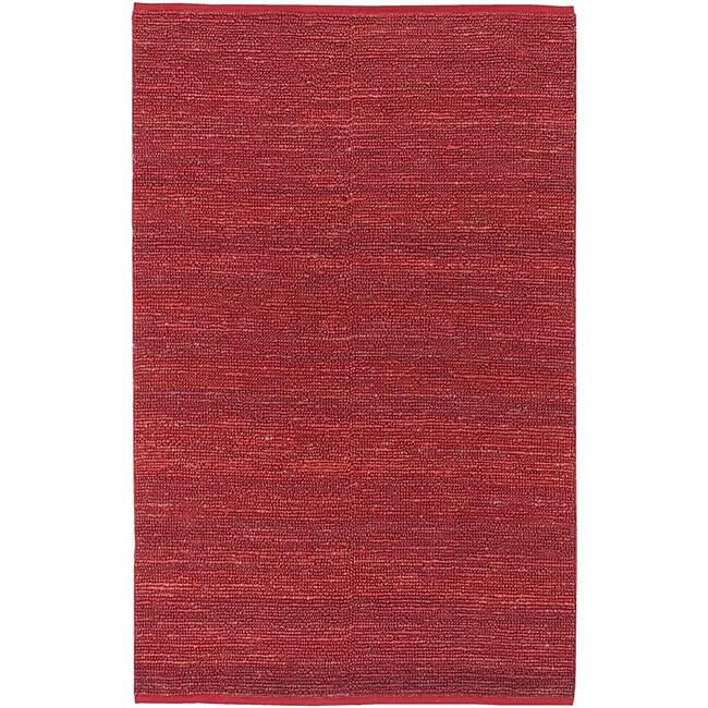 Hand-woven Cottage Red Natural Fiber Jute Rug (5' x 8')