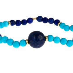 Anika and August Gold over Silver Blue Lapis and Reconstituted Turquoise Stretch Bracelet