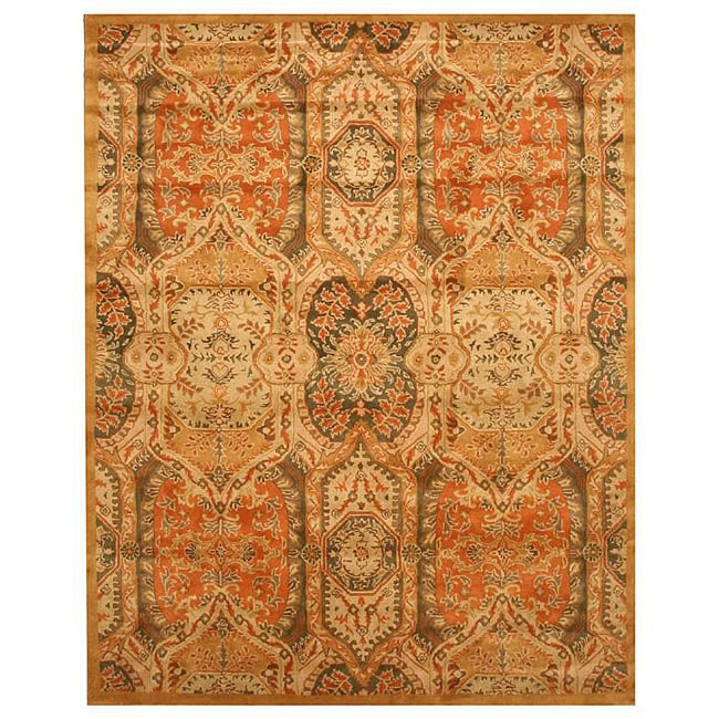 Hand-tufted Wool Gold Transitional Floral Piazza Rug (5' x 8') - 5' x 8'