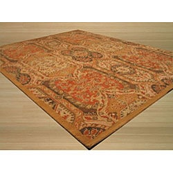 Hand-tufted Wool Gold Transitional Floral Piazza Rug (5' x 8') - Thumbnail 1