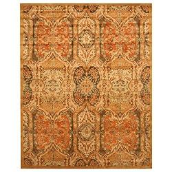 Hand-tufted Wool Gold Transitional Floral Piazza Rug (5' x 8') - 5' x 8' - Thumbnail 0