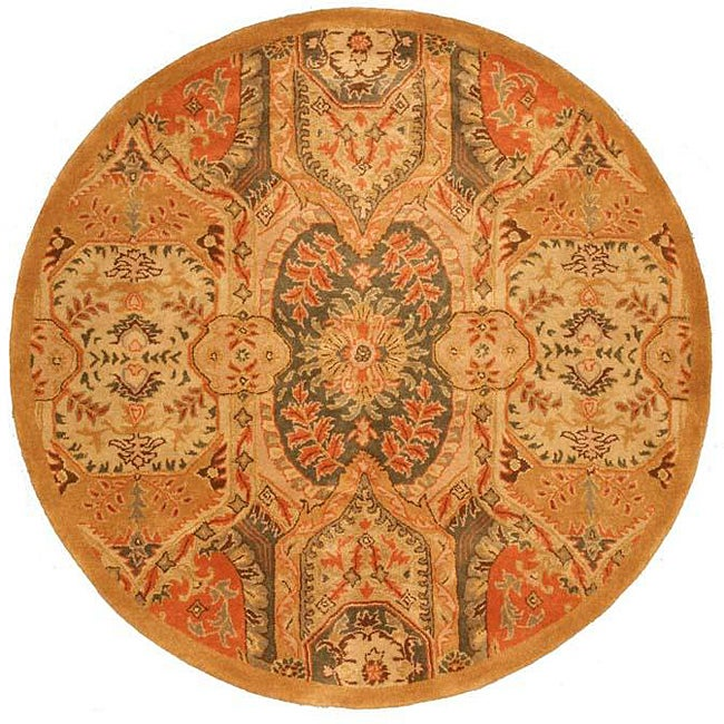 Hand-tufted Wool Gold Transitional Floral Piazza Rug (6' Round)