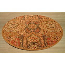 Hand-tufted Wool Gold Transitional Floral Piazza Rug (6' Round) - Thumbnail 1