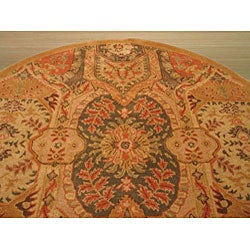 Hand-tufted Wool Gold Transitional Floral Piazza Rug (6' Round) - Thumbnail 2