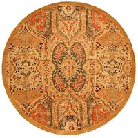 Hand-tufted Wool Gold Transitional Floral Piazza Rug - 6'