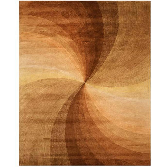 EORC Hand-tufted Wool Brown Swirl Rug (7'9 x 9'9)