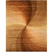 Hand-tufted Wool Brown Contemporary Abstract  Swirl Rug (7'9 x 9'9)