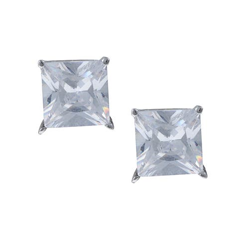 Roberto Martinez Sterling Silver White Cubic Zirconia Stud Earrings