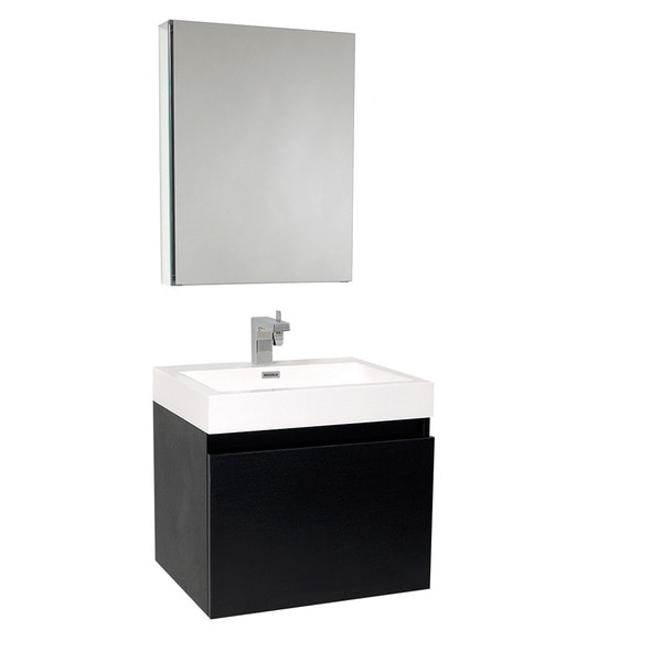 black bathroom medicine cabinet shop fresca nano black bathroom vanity with medicine 17374