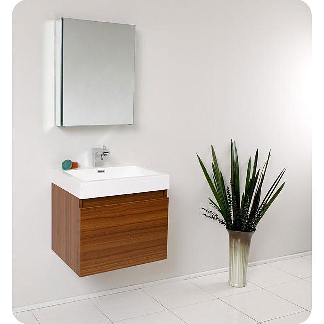 Fresca Nano Teak Bathroom Vanity with Medicine Cabinet - Brown